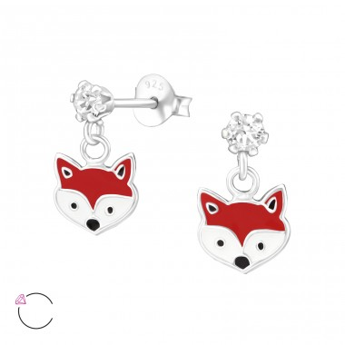 Hanging Fox - 925 Sterling Silver Crystal Ear Studs A4S32849