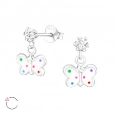 Hanging Butterfly - 925 Sterling Silver Crystal Ear Studs A4S32850