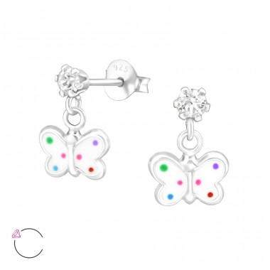 Hanging Butterfly - 925 Sterling Silver Ear studs with crystals A4S32850