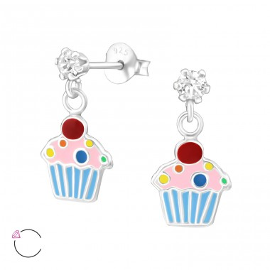 Cupcake - 925 Sterling Silver Crystal Ear Studs A4S32852