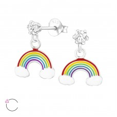 Hanging Rainbow - 925 Sterling Silver Crystal Ear Studs A4S32856