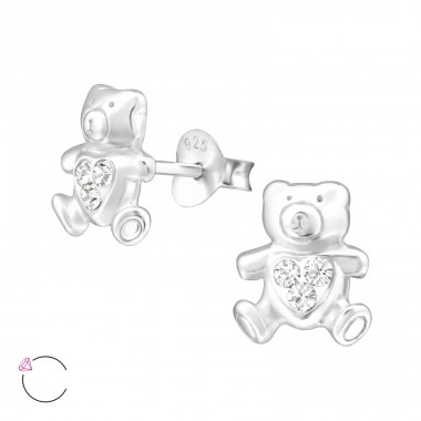 Bear - 925 Sterling Silver Ear studs with crystals A4S32925