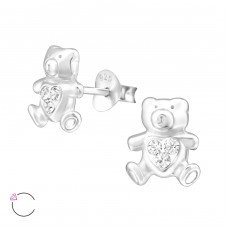 Bear - 925 Sterling Silver Crystal Ear Studs A4S32925