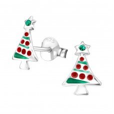 Christmas Tree - 925 Sterling Silver Crystal Ear Studs A4S32930
