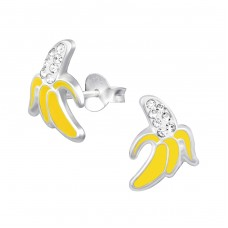 Banana - 925 Sterling Silver Crystal Ear Studs A4S33023