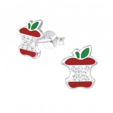 Apple - 925 Sterling Silver Crystal Ear Studs A4S33026