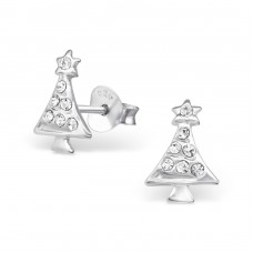 Christmas tree - 925 Sterling Silver + Crystal Crystal Ear Studs A4S33068