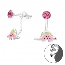 Dinosaur - 925 Sterling Silver Crystal Ear Studs A4S33629