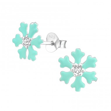 Snowflake - 925 Sterling Silver Ear studs with crystals A4S33668