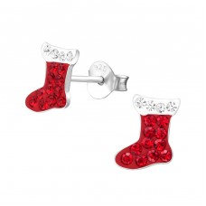 Stocking - 925 Sterling Silver Crystal Ear Studs A4S33669
