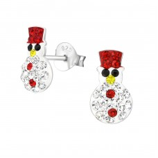 Snowman - 925 Sterling Silver Crystal Ear Studs A4S33673