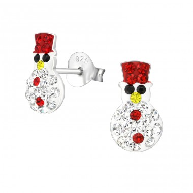 Snowman - 925 Sterling Silver Ear studs with crystals A4S33673