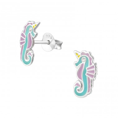 Seahorse - 925 Sterling Silver Ear studs with crystals A4S33681