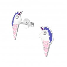 Unicorn Ice Cream - 925 Sterling Silver Crystal Ear Studs A4S33686