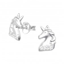 Unicorn - 925 Sterling Silver Crystal Ear Studs A4S33690