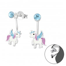 Unicorn - 925 Sterling Silver Crystal Ear Studs A4S33748