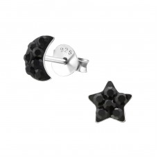 Moon And Star - 925 Sterling Silver Crystal Ear Studs A4S34522
