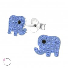 Elephant - 925 Sterling Silver Crystal Ear Studs A4S34567