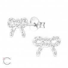 Bow - 925 Sterling Silver Crystal Ear Studs A4S34568