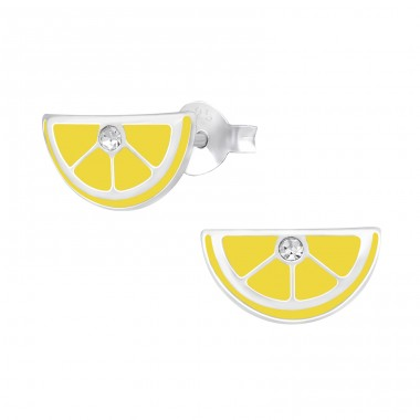 Lemon - 925 Sterling Silver Crystal Ear Studs A4S34647