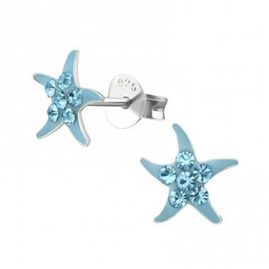 Starfish - 925 Sterling Silver Crystal Ear Studs A4S34829