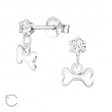 Silver Ear Studs With Hanging Bone And Crystals From Swarovski® - 925 Sterling Silver Crystal Ear Studs A4S35337