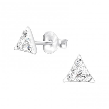 Triangle - 925 Sterling Silver Ear studs with crystals A4S35430