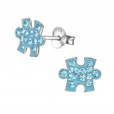 Jigsaw Piece - 925 Sterling Silver Crystal Ear Studs A4S35733