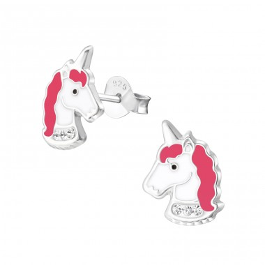Unicorn - 925 Sterling Silver Ear studs with crystals A4S35737