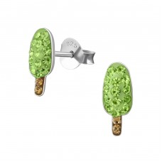Ice Cream - 925 Sterling Silver Crystal Ear Studs A4S35784