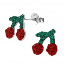 Cherry - 925 Sterling Silver Crystal Ear Studs A4S35785