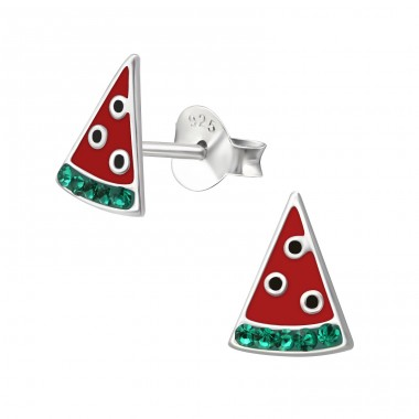 Watermelon - 925 Sterling Silver Crystal Ear Studs A4S36649