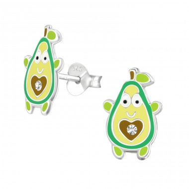 Avocado - 925 Sterling Silver Crystal Ear Studs A4S37000