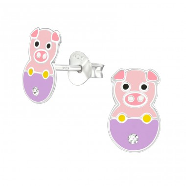 Pig - 925 Sterling Silver Crystal Ear Studs A4S37002