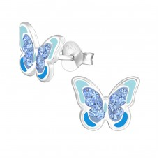 Butterfly - 925 Sterling Silver Crystal Ear Studs A4S37003
