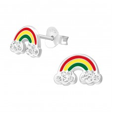 Rainbow - 925 Sterling Silver Crystal Ear Studs A4S37004