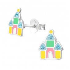Castle - 925 Sterling Silver Crystal Ear Studs A4S37006