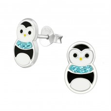 Penguin - 925 Sterling Silver Crystal Ear Studs A4S37011