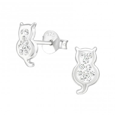 Cat - 925 Sterling Silver Crystal Ear Studs A4S37012