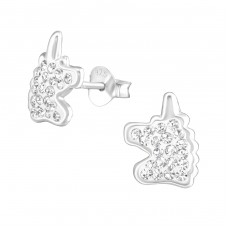 Unicorn - 925 Sterling Silver Crystal Ear Studs A4S37014