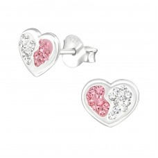 Heart - 925 Sterling Silver Crystal Ear Studs A4S37015