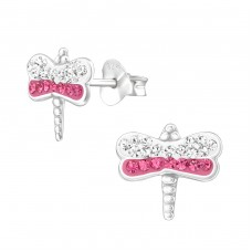 Dragonfly - 925 Sterling Silver Crystal Ear Studs A4S37016