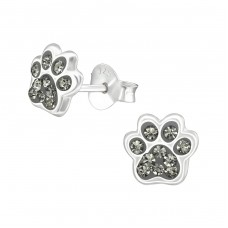 Paw Print - 925 Sterling Silver Crystal Ear Studs A4S37017