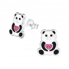 Panda - 925 Sterling Silver Crystal Ear Studs A4S37027