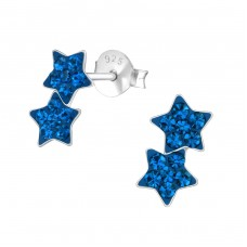Double Star - 925 Sterling Silver Crystal Ear Studs A4S37028