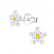 Flower - 925 Sterling Silver Crystal Ear Studs A4S37030