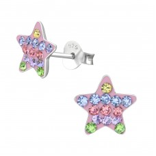 Star - 925 Sterling Silver Crystal Ear Studs A4S37032