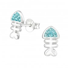 Fishbone - 925 Sterling Silver Crystal Ear Studs A4S37043