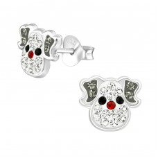 Dog - 925 Sterling Silver Crystal Ear Studs A4S37044