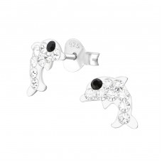 Dolphin - 925 Sterling Silver Crystal Ear Studs A4S37081
